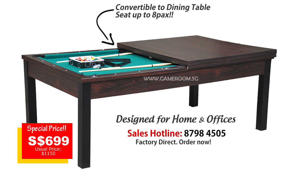 ... Pool Table Into A Dining Table Or A Large Working Desk! Worry About The  Hassle Of Getting Or Moving The Pool Table Around? Get This Convertible Pool  ...